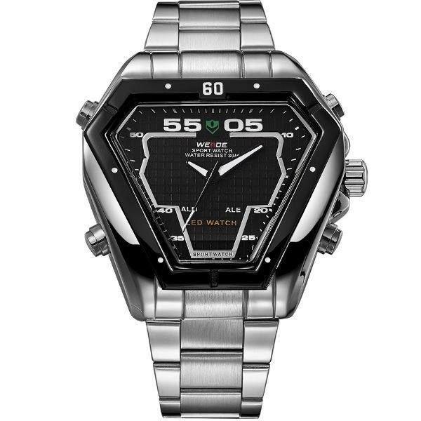 Relógio Masculino Weide Anadigi WH-1102 Prata e Preto