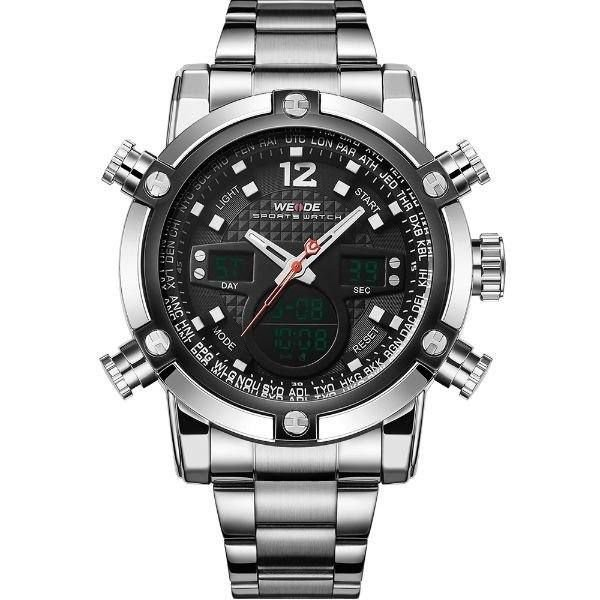 Relógio Masculino Weide Anadigi WH-5205 Prata e Preto