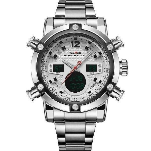 Relógio Masculino Weide Anadigi WH-5205 Prata e Branco