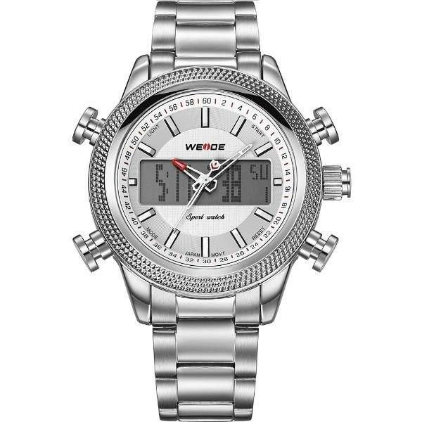 Relógio Masculino Weide Anadigi WH-3406 Prata e Branco