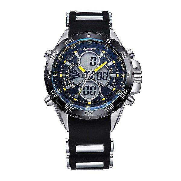 Relógio Masculino Weide Anadigi WH-1103 Preto e Amarelo