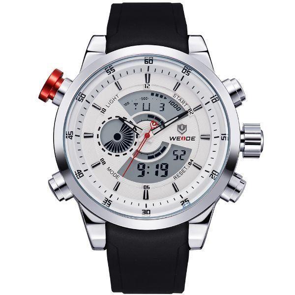 Relógio Masculino Weide Anadigi WH-3401 Branco