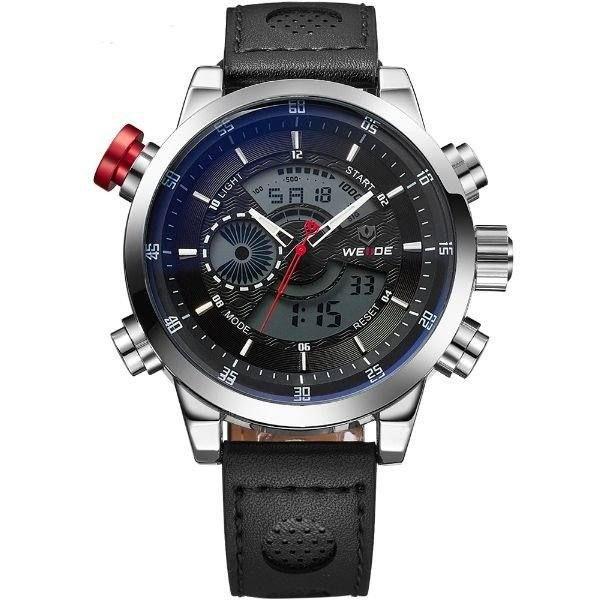 Relógio Masculino Weide Anadigi WH-3401-C Prata e Preto
