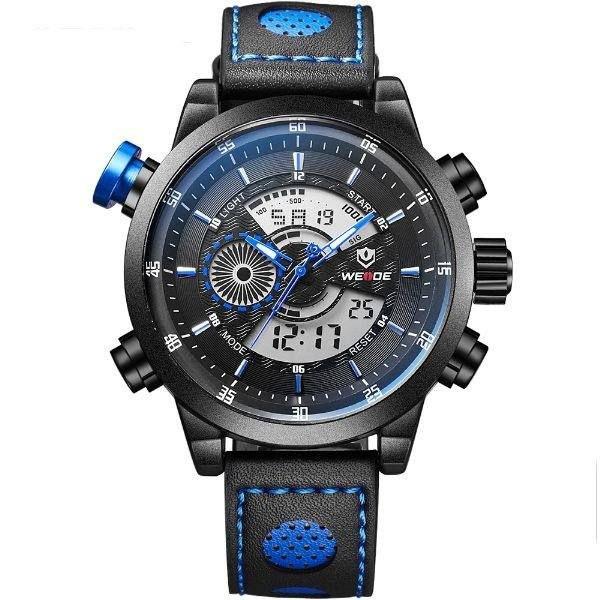 Relógio Masculino Weide Anadigi WH-3401-C Preto e Azul