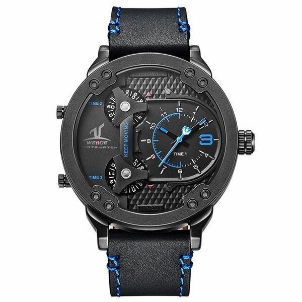 Relógio Masculino Weide Analógico UV-1506  Preto e Azul