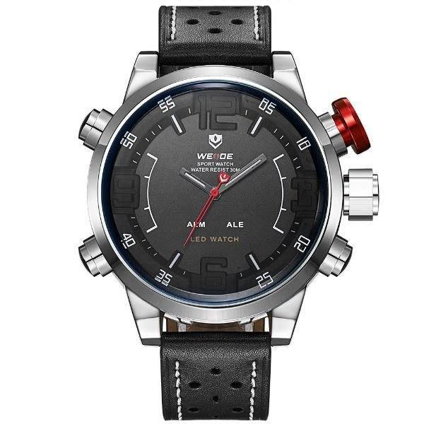 Relógio Masculino Weide Anadigi WH-5210 Preto e Prata