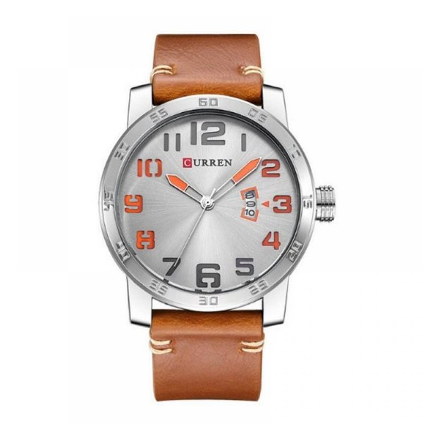 Relógio Masculino Curren Analógico 8254 Prata e Laranja