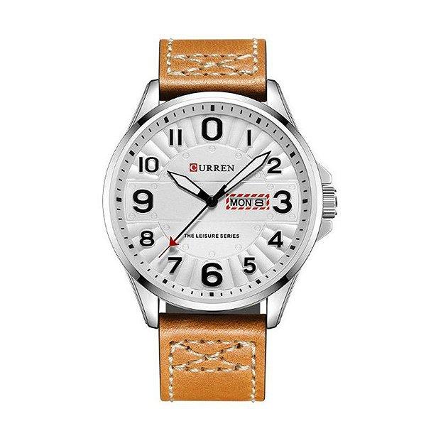 Relógio Masculino Curren Analógico 8269 Prata e Branco