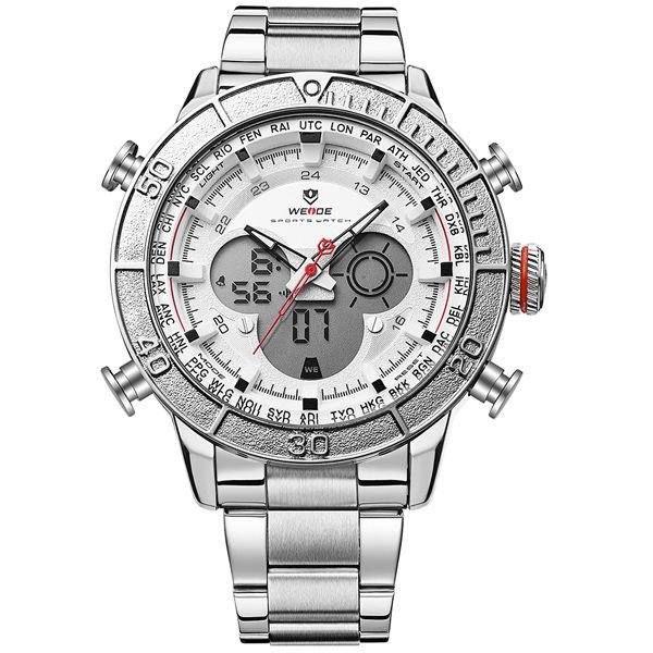 Relógio Masculino Weide Anadigi WH-6308 Branco