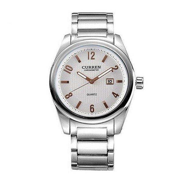 Relógio Masculino Curren Analógico 8048 Prata e Dourado