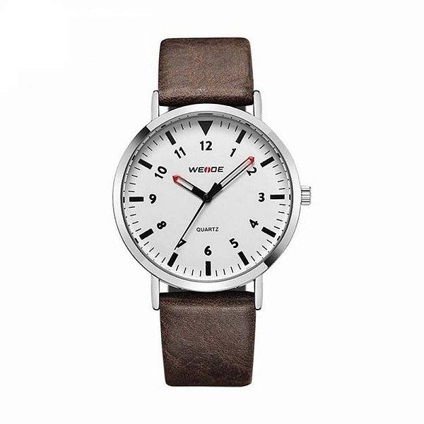 Relógio Masculino Weide Analógico WD003 Marrom e Branco