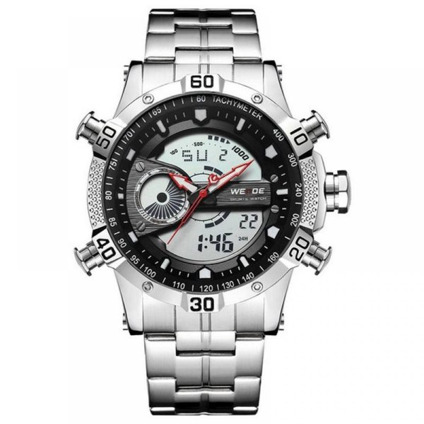 Relógio Masculino Weide Anadigi WH-6902 Prata e Preto