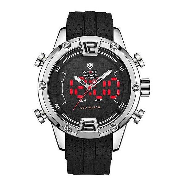 Relógio Masculino Weide Anadigi WH-7301 - Prata e Preto
