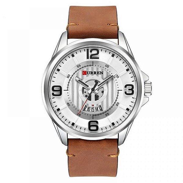 Relógio Masculino Curren Analógico 8305 - Prata e Marrom