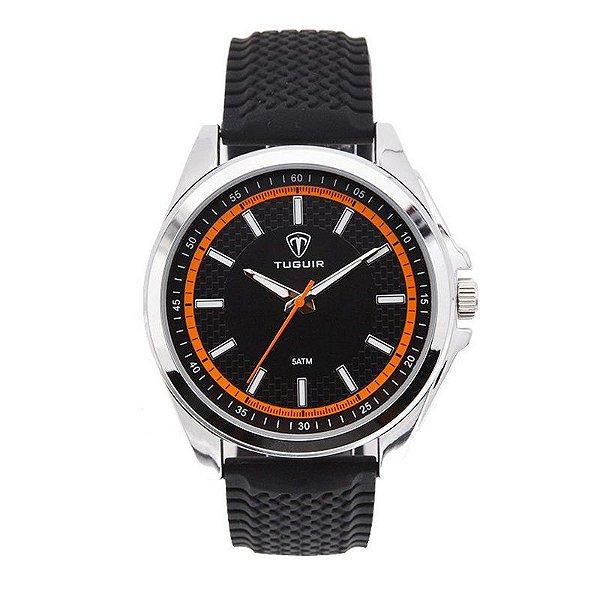 Relógio Masculino Tuguir Analógico 5044 Preto e Laranja