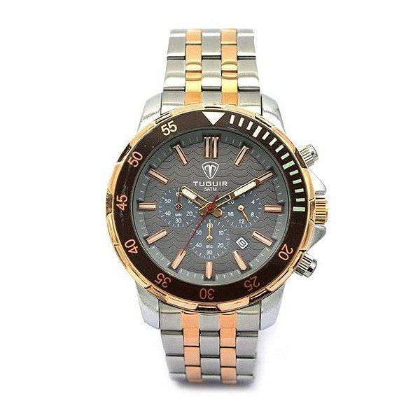 Relógio Masculino Tuguir Analógico 5008 Prata e Rose