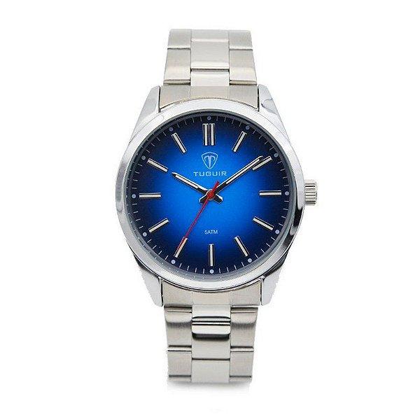 Relógio Masculino Tuguir Analógico 5013 Prata e Azul