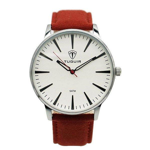 Relógio Masculino Tuguir Analógico 5273G Prata e Vermelho