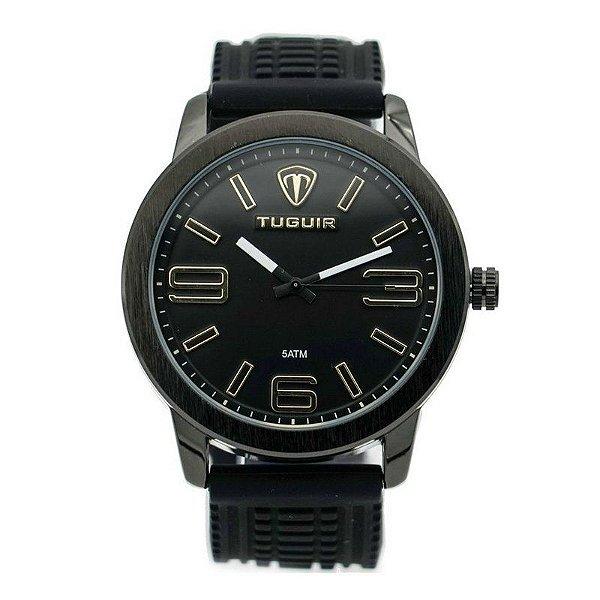 Relógio Masculino Tuguir Analógico 5320G Preto e Dourado