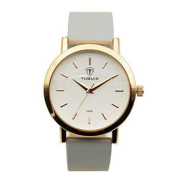 Relógio Feminino Tuguir Analógico 5442L Dourado e Branco
