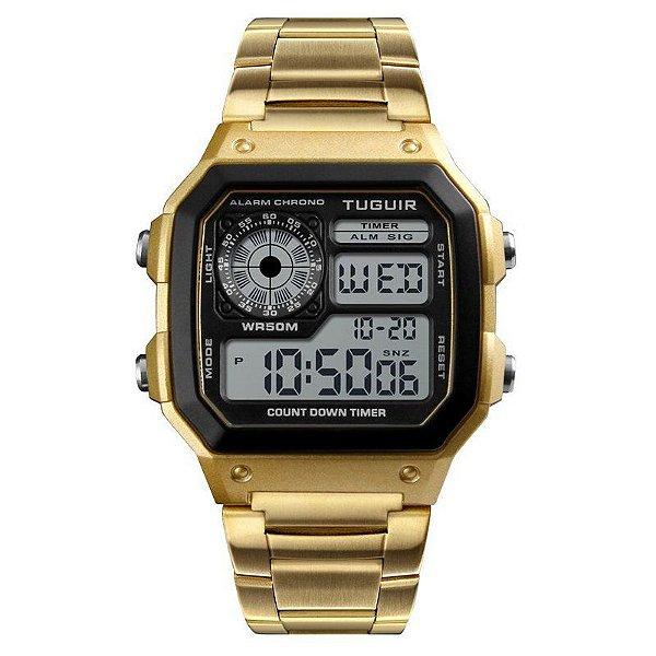 Relógio Masculino Tuguir Digital TG1335 - Dourado e Preto