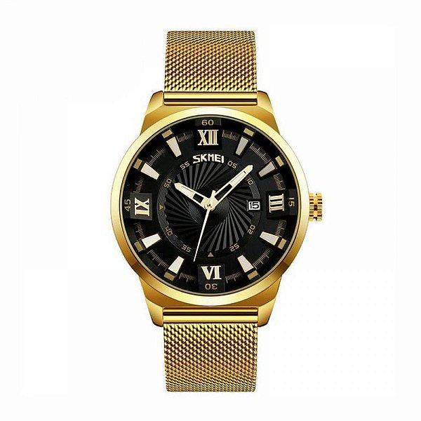 Relógio Masculino Skmei Analógico 9166 Dourado e Preto