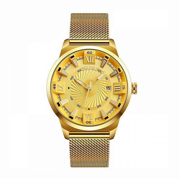 Relógio Masculino Skmei Analógico 9166 Dourado