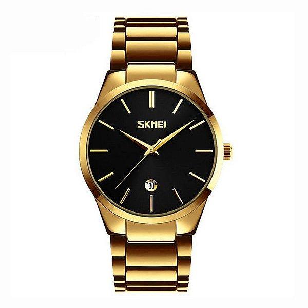 Relógio Masculino Skmei Analógico 9140 Dourado e Preto