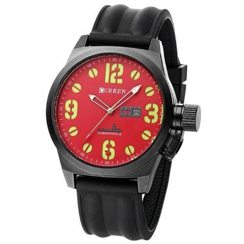 Relógio Masculino Curren Analógico 8127 Preto e Vermelho