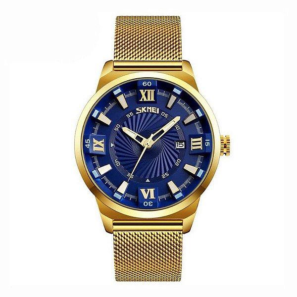 Relógio Masculino Skmei Analógico 9166 Dourado e Azul