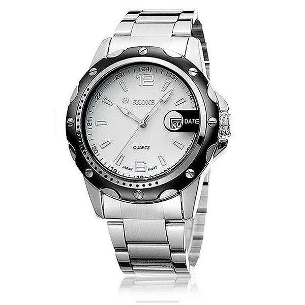 Relógio Masculino Skone Analógico Casual 7147BG Branco
