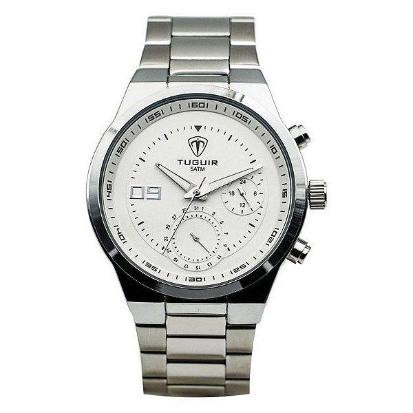 Relógio Unissex Tuguir Analógico 5440G - Prata e Branco
