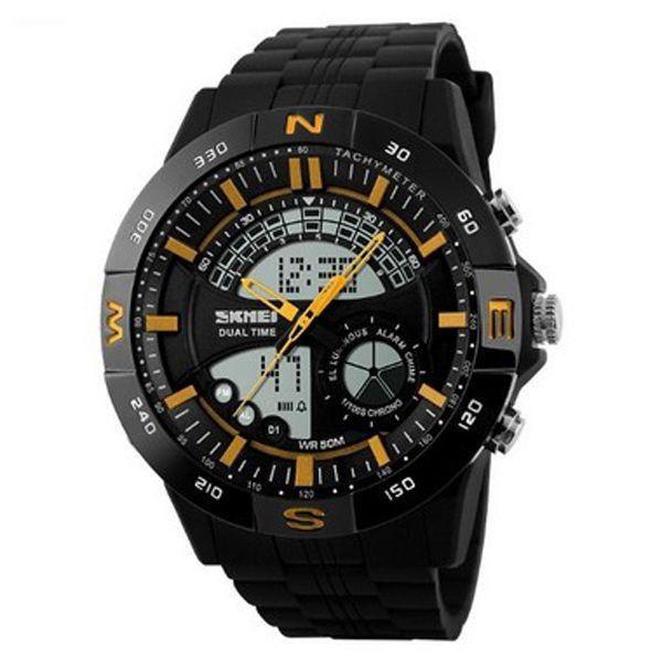 Relógio Masculino Skmei Anadigi 1110 Preto e Dourado