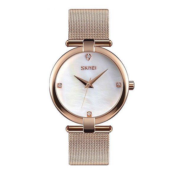 Relógio Feminino Skmei Analógico 9177 - Rose e Branco