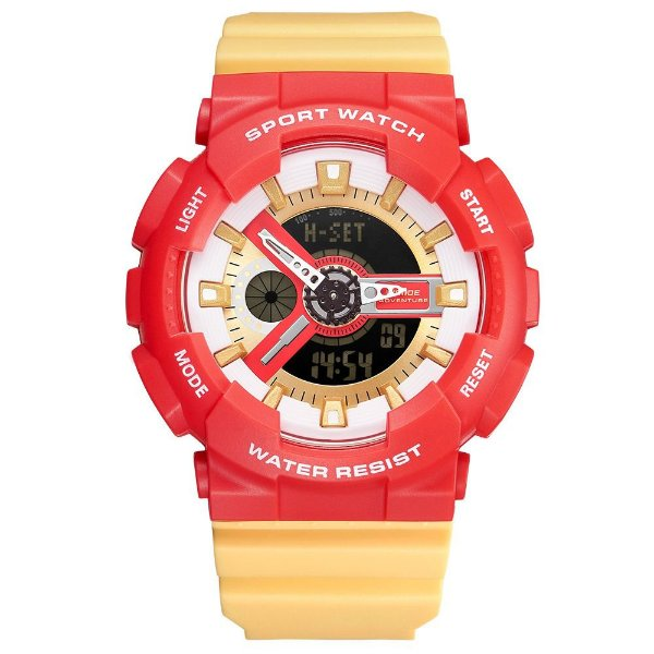 Relógio Masculino Weide AnaDigi WA3J8004 - Vermelho e Creme