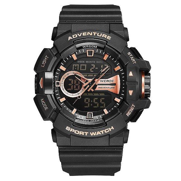 Relógio Masculino Weide AnaDigi WA3J8002 - Preto e Rosê