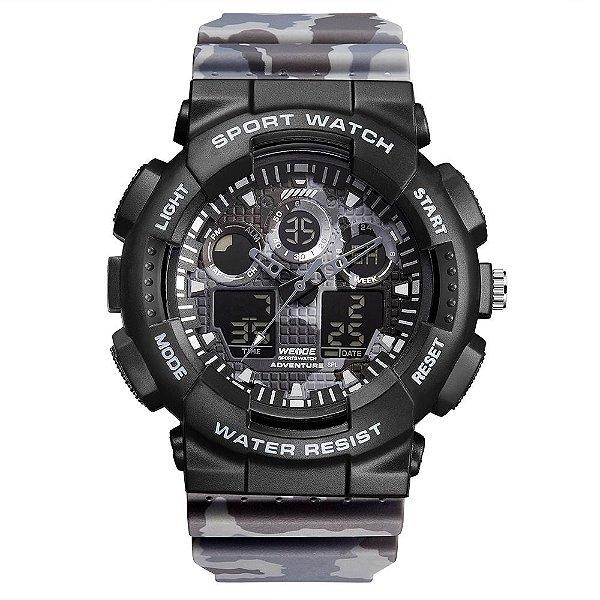 Relógio Masculino Weide AnaDigi WA3J8003 - Preto e Cinza Camuflado
