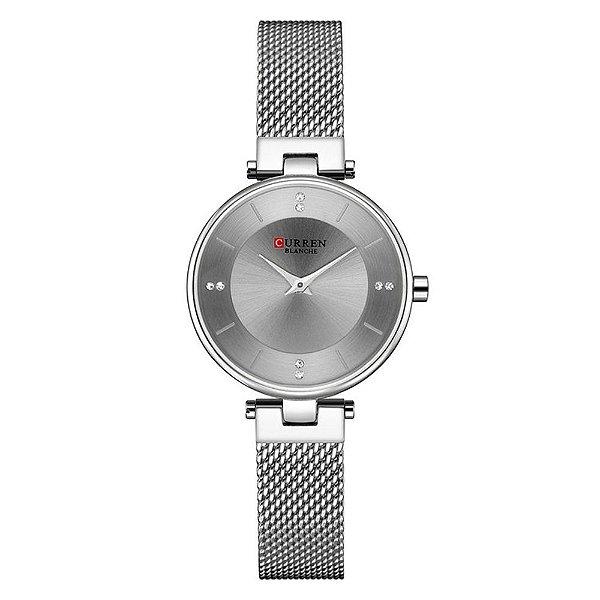 Relógio Feminino Curren Analógico C9031L - Prata e Cinza