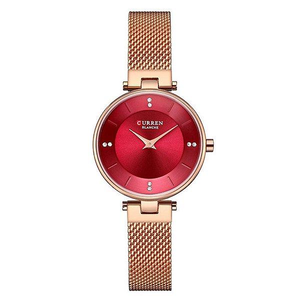 Relógio Feminino Curren Analógico C9031L - Rose e Vermelho