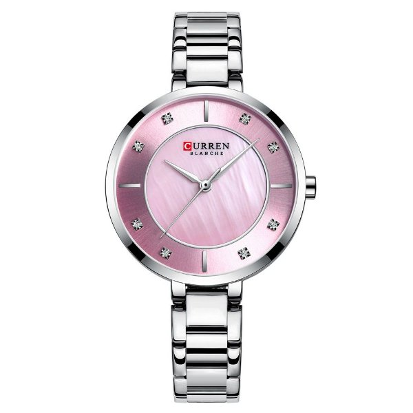 Relógio Feminino Curren Analógico C9051L - Prata e Rosa