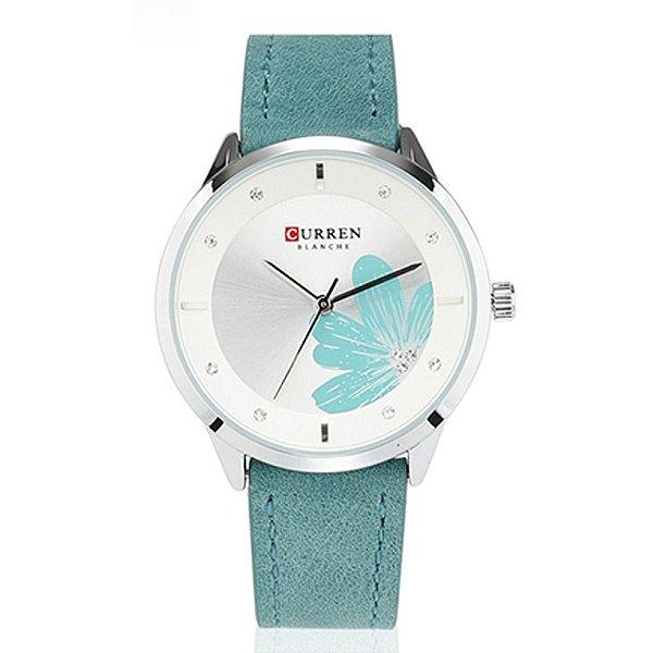 Relógio Feminino Curren Analógico C9048L - Prata e Verde