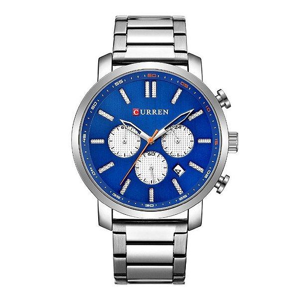 Relógio Masculino Curren Analógico 8315 - Prata e Azul