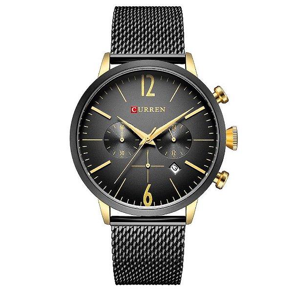 Relógio Masculino Curren Analógico 8313 - Preto e Dourado