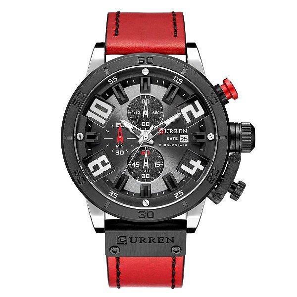 Relógio Masculino Curren Analógico 8312 - Preto e Vermelho