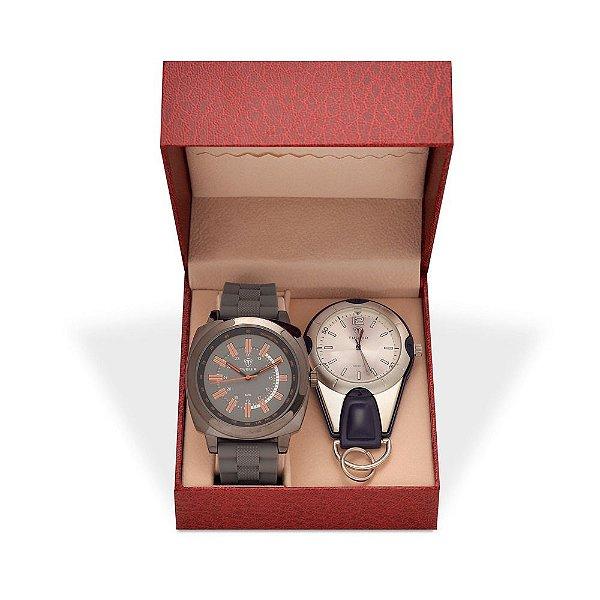 Kit Relógio Masculino Tuguir Analógico 5014 e Relógio Chaveiro 5506G