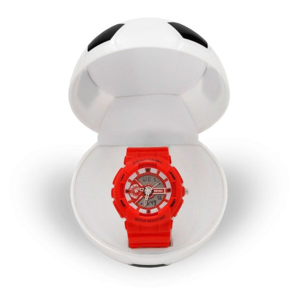 Relógio Infantil Menino Skmei AnaDigi 1052 - Vermelho e Branco