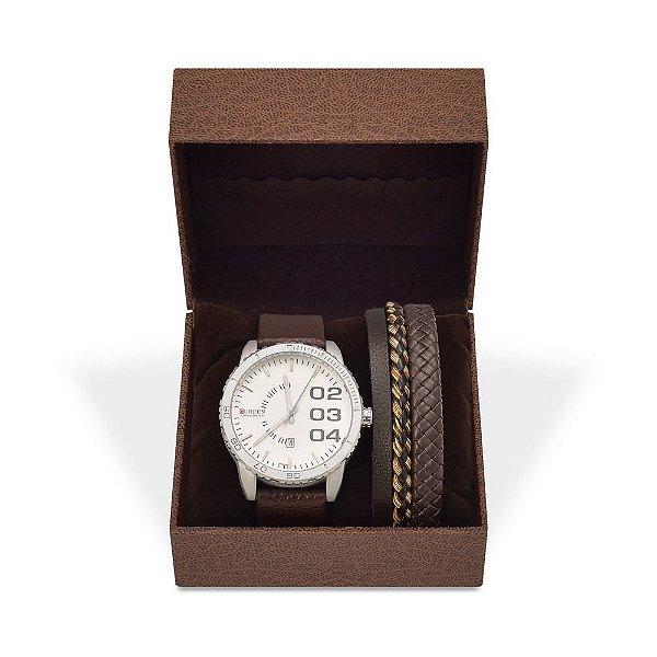 Kit Relógio Masculino Curren Analógico 8125 e Pulseira de Couro