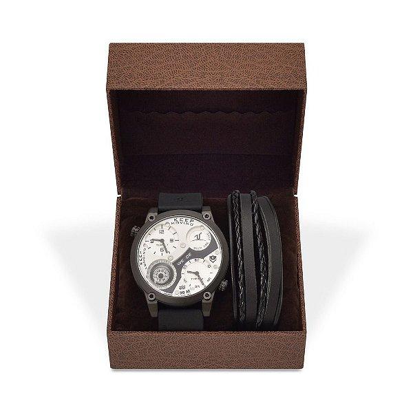 Kit Relógio Masculino Weide Analógico UV-1505 e Pulseira de Couro