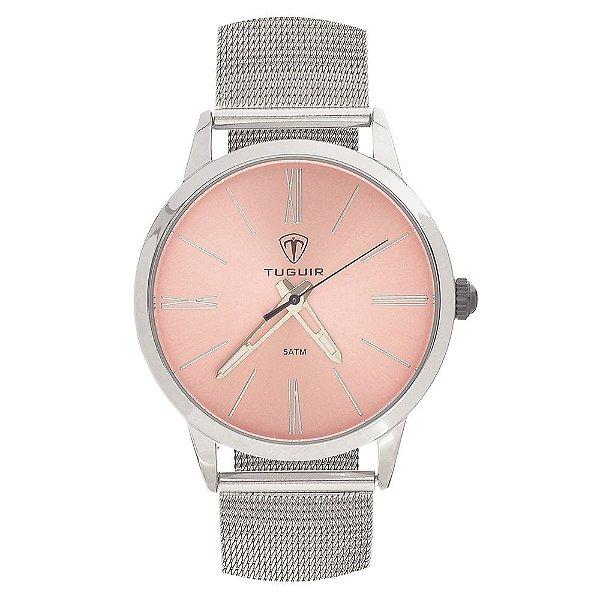Relógio Feminino Tuguir Analógico TG106 - Prata e Rosa