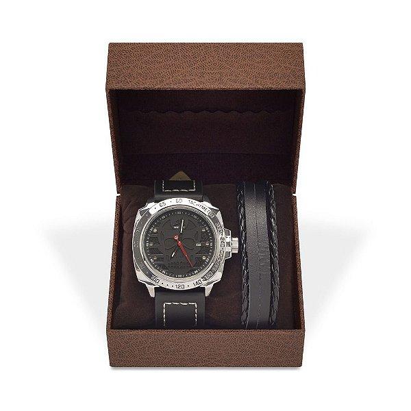 Kit Relógio Masculino Weide Analógico UV-1510 com Pulseira de Couro